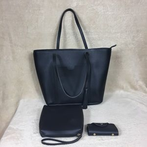 New Black Large Handbag with I.D. Wallet and Pouch